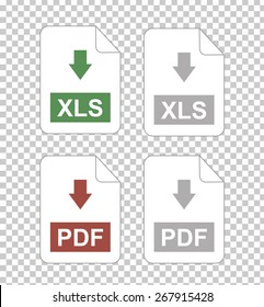 Icons for office file extensions, vector icons