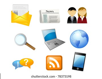 icons of office objects and common elements - earth globe, magnifier, mailbox, notebook, newspaper, rss, etc.