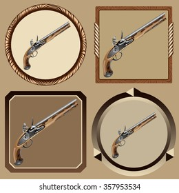icons old pirate flintlock pistol on a dark background vector