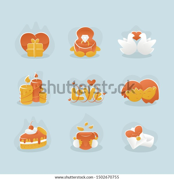 Icons On Theme Love Depicting Happiness Stock Vector Royalty Free
