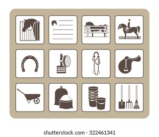 icons on the topic of equestrian sports and the care of horses