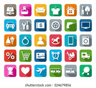 Icons, online store, categories of products, colored background, shadow. White icons product categories for the online shop, on a colored background, with shadow.