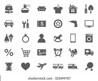 Icons, online store, product categories, monochrome, white background. Icons of categories of goods for the online store. Monochrome on a white background. For websites, print and infographics.
