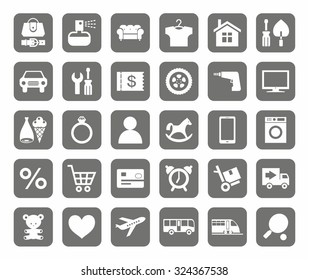 Icons, online store, product categories, monotone, grey background.  White icons categories of products for online store on gray background.