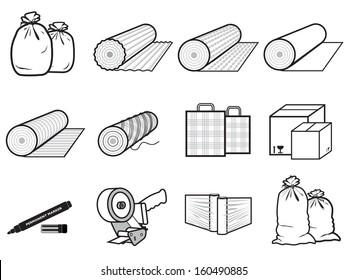 icons packages of goods: bag, boxes, stretch polyethylene, cardboard