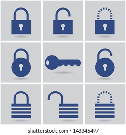 icons padlocks. vector set. eps10