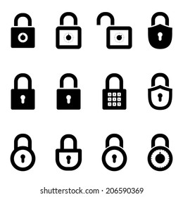 icons padlocks. vector set. eps8