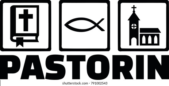 Icons for pastor with bible, religious fish icon and church and female german job title