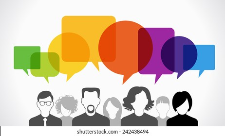 Icons of people with speech bubbles.  Vector illustration of a communication concept, The file is saved in the version AI10 EPS.