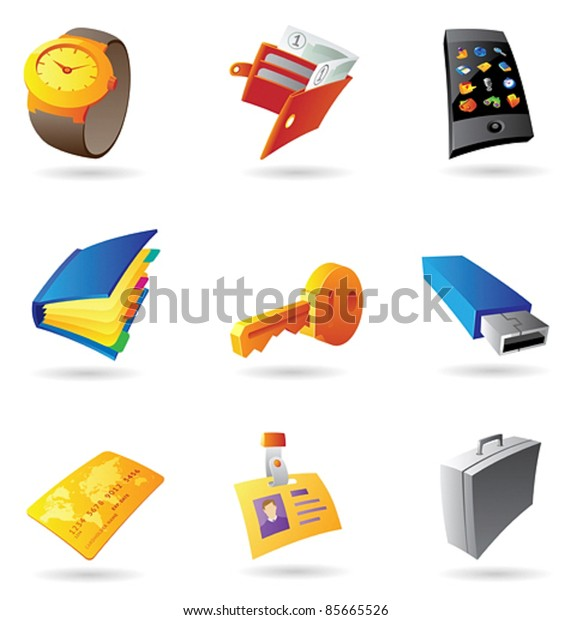 Icons for personal items. Vector illustration.