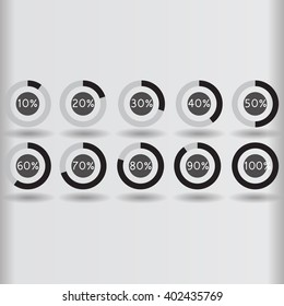icons pie graph circle percentage black chart 10 20 30 40 50 60 70 80 90 100 % set illustration round vector