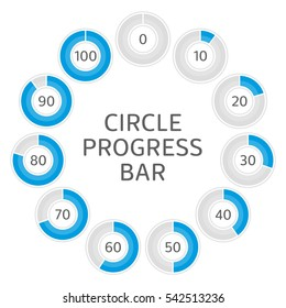 Icons pie graph circle percentage blue chart. Infographics vector: 0%, 10%, 20%, 30%, 40%, 50%, 60%, 70%, 80%, 90%, 100% colored diagrams, isolated on white background.