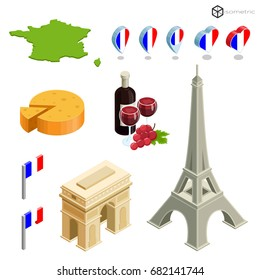 Icons of popular buildings in France, isometric icons on which they learn France