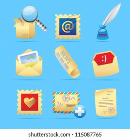 Icons for postal services. Vector illustration.
