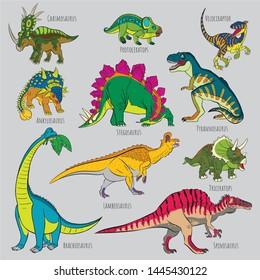 Icons of prehistoric reptile monsters. Outline of Triceratops and Brachiosaurus, Tyrannosaurus and Stegosaurus, Spinosaurus and Velociraptor, Ankylosaurus and Tyrannosaurus, Hasmosaurus and Lambeosaur