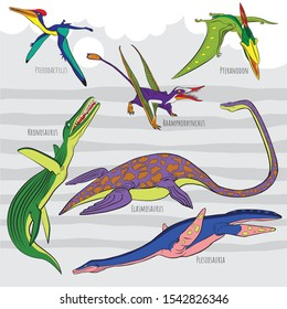 Icons of prehistoric reptile monsters. Outline of  Pterodactylus, Pteranodon and Rhamphorhynchus, Elasmosaurus and Plesiosauriar, Kronosaurus