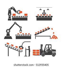 icons production lines of the conveyor