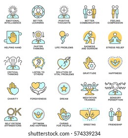 Icons psychological features of human personality. Thoughts, emotions, empathy, assistance and relationships. The thin contour lines.