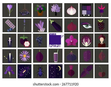 Icons of purple (violet). Set of flat icons associated with purple color. Icons of food, nature, people and other objects in purple color.