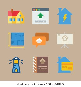 icons Real Estate with blueprint, design, plan, house and lighthouse