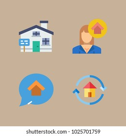 icons Real Estate with house seller and house