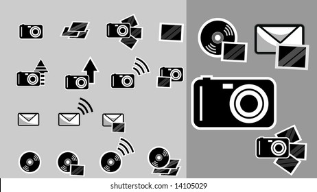 Icons related to cameras, pictures, storage and sending