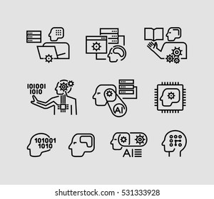 Icons related to machine learning and artificial intelligence