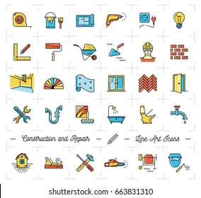 Icons Repair house, apartment. Repair tools symbols. Construction thin line art icons, Vector flat illustration
