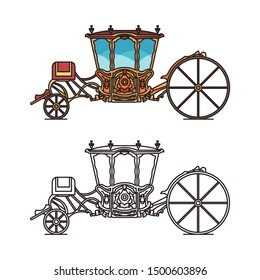Icons of retro buggy or chariot for weddings, royal or princess dormeuse carriage. Coach of Maria Francisca de Saboia. Outline of vintage perth-cart, fairytale waggon, victorian cab.Medieval transport