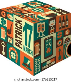 icons in retro style on the holiday St. Patrick Day folded into a cube