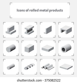 Icons of rolled metal products / Isometric icons of various kinds of metal products