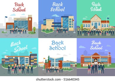 Icons with school types. Teacher and students. Collection of pictures with different kinds of modern educational institutions. Elementary, secondary, high, upper, best schools. Vector illustration