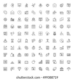Icons set. 100 thin line symbols about business and finances