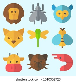 Icons set about Animals with lion, owl, mosquito, cow, dragonfly and wasp