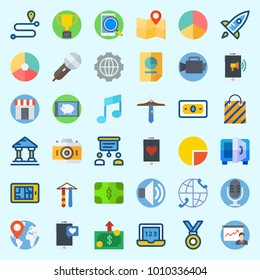 Icons set about Digital Marketing with location, smartphone, medal, route, volume and note