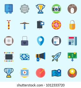 Icons set about Digital Marketing with smartphone, missile, trophy, location, startup and target