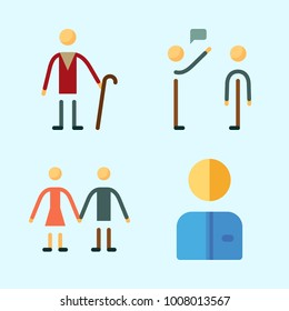 Icons set about Human with selutation, couple, elder and worker