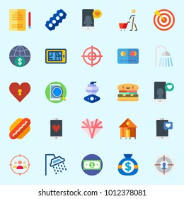 Icons set about Lifestyle with heart, studying, shopping, target, shower and motor