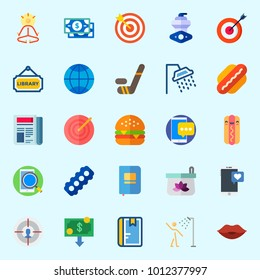 Icons set about Lifestyle with motor, target, kiss, newspaper, hamburger and library