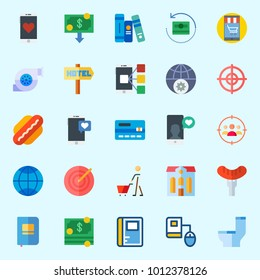 Icons set about Lifestyle with smartphone, hotel, online education, shopping, hot dog and notebook