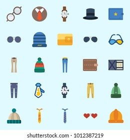 Icons set about Man Accessories with top hat, winter hat, wallet, sunglasses, watch and trousers