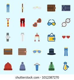 Icons set about Man Accessories with top hat, trousers, tie, watch, winter hat and wallet