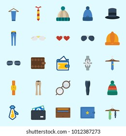 Icons set about Man Accessories with winter hat, tie, wallet, watch, top hat and sunglasses