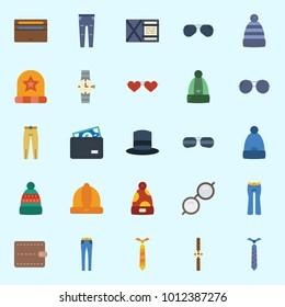 Icons set about Man Accessories with tie, wallet, sunglasses, trousers, watch and winter hat