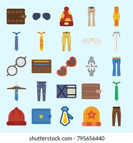 icons set about Man Accessories. with tie, sunglasses, trousers, wallet, watch and winter hat