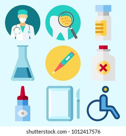 Icons set about Medical with medicine, test tube, surgery, eye drob, wheelchair and thermometer