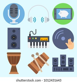 Icons set about Music with disc jockey, headphone, sound system, microphone, dj and announcer