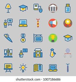 icons set about School And Education. with museum, staff, pendrive, laptop, idea and online education