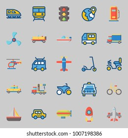 icons set about Transportation. with airplane, motorbike, propeller, boat, helicopter and car