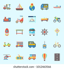 Icons set about Transportation with sail boat, hot air balloon, scooter, road, bicycle and boat